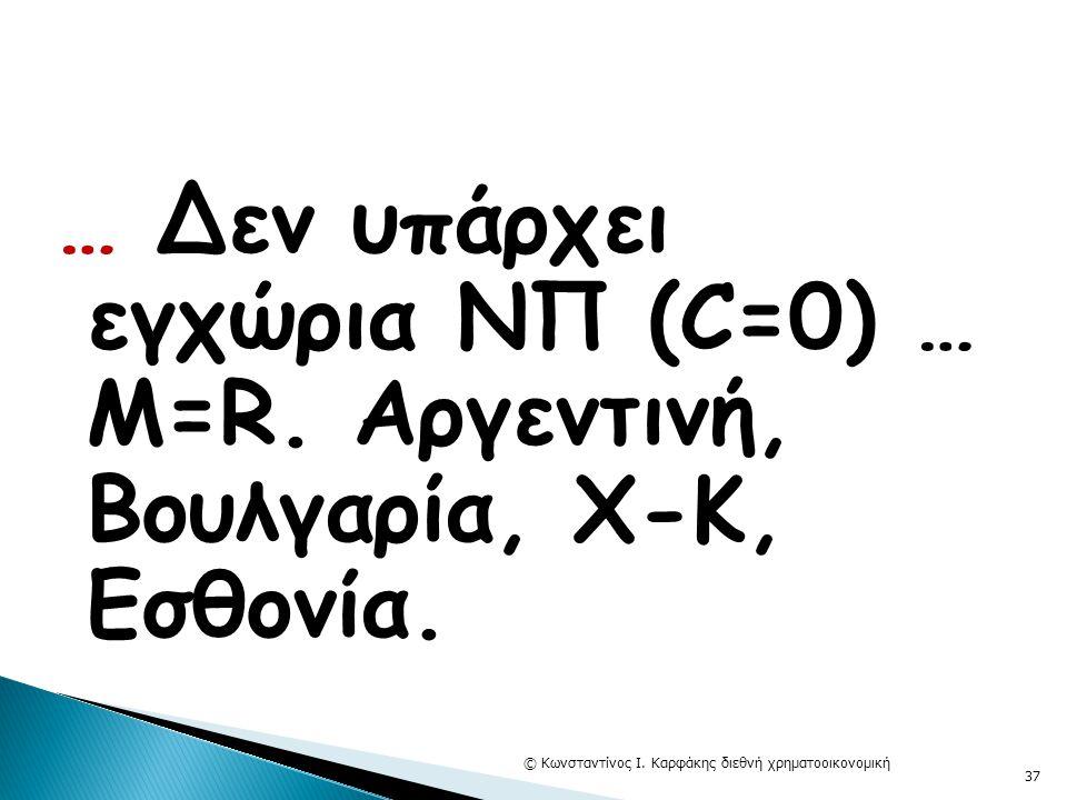 … Δεν υπάρχει εγχώρια ΝΠ (C=0) … Μ=R. Αργεντινή, Βουλγαρία, Χ-Κ, Εσθονία. © Κωνσταντίνος Ι. Καρφάκης διεθνή χρηματοοικονομική 37