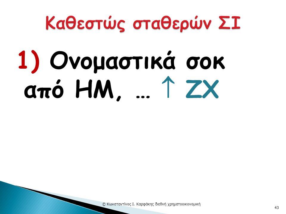 1) Ονομαστικά σοκ από ΗΜ, …  ΖΧ © Κωνσταντίνος Ι. Καρφάκης διεθνή χρηματοοικονομική 43