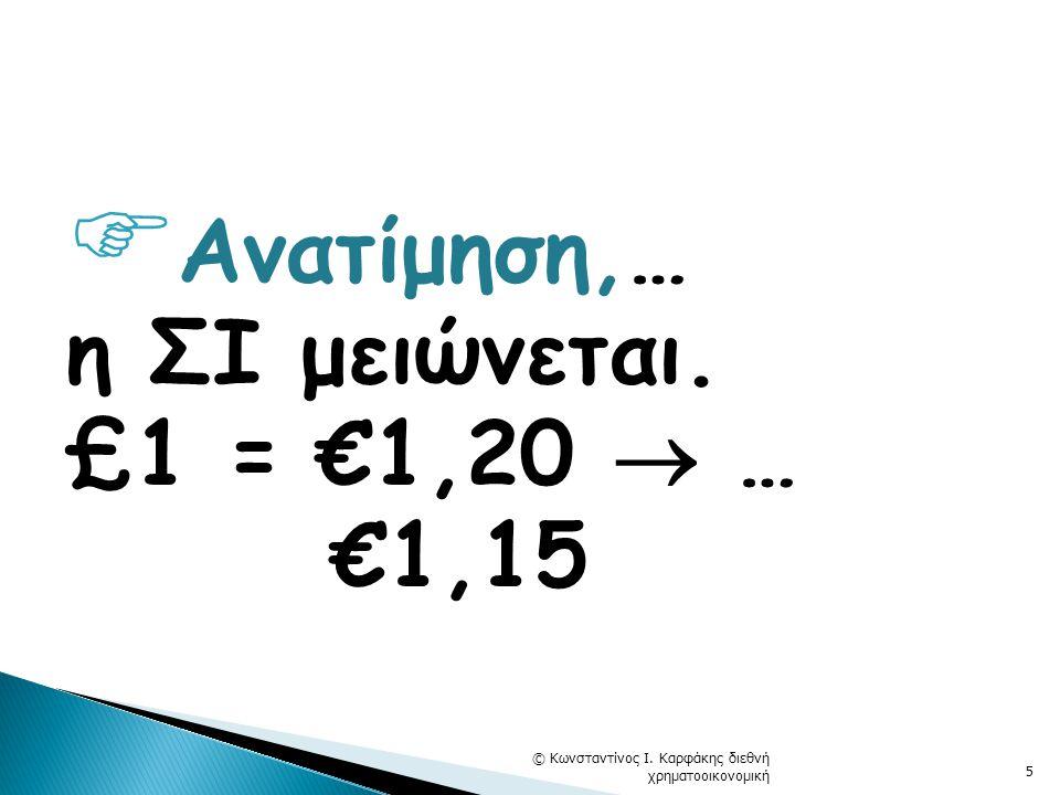  Ανατίμηση,… η ΣΙ μειώνεται. £1 = €1,20  … €1,15 © Κωνσταντίνος Ι. Καρφάκης διεθνή χρηματοοικονομική 5