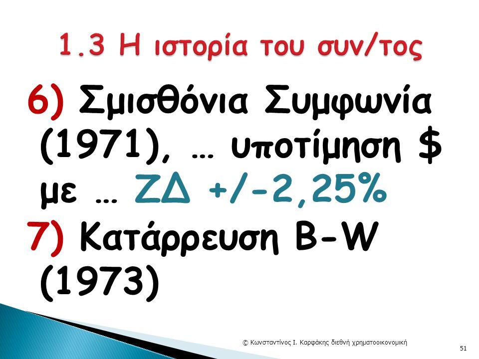 6) Σμισθόνια Συμφωνία (1971), … υποτίμηση $ με … ΖΔ +/-2,25% 7) Κατάρρευση Β-W (1973) © Κωνσταντίνος Ι. Καρφάκης διεθνή χρηματοοικονομική 51