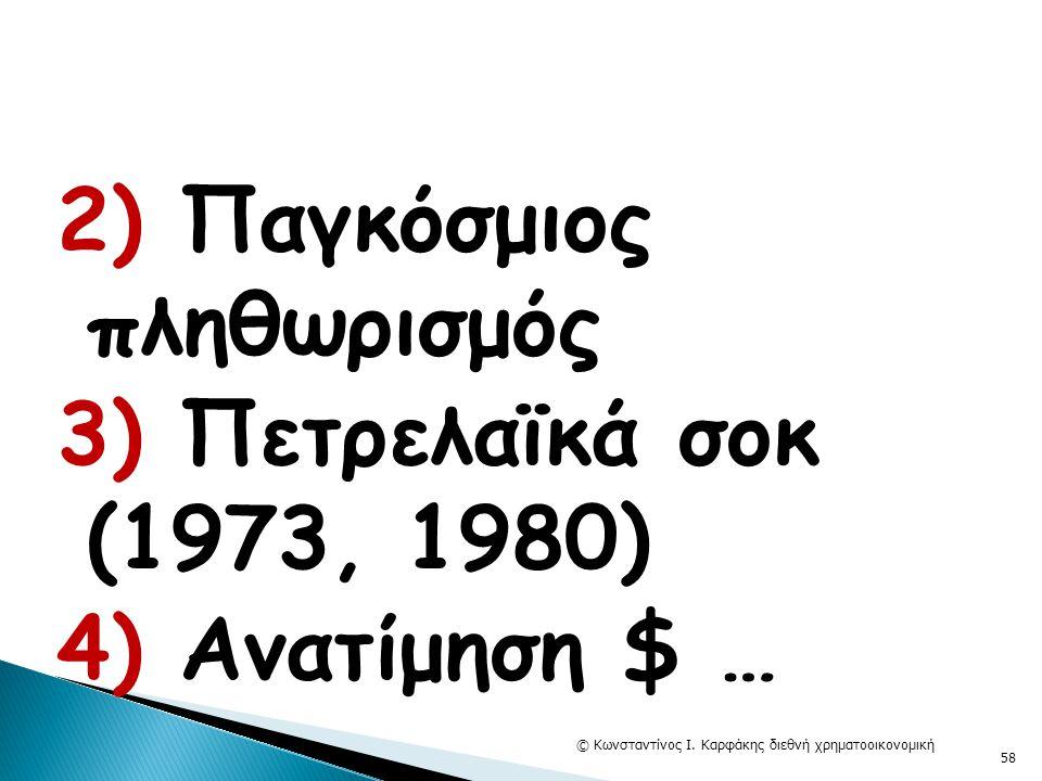 2) Παγκόσμιος πληθωρισμός 3) Πετρελαϊκά σοκ (1973, 1980) 4) Ανατίμηση $ … © Κωνσταντίνος Ι. Καρφάκης διεθνή χρηματοοικονομική 58