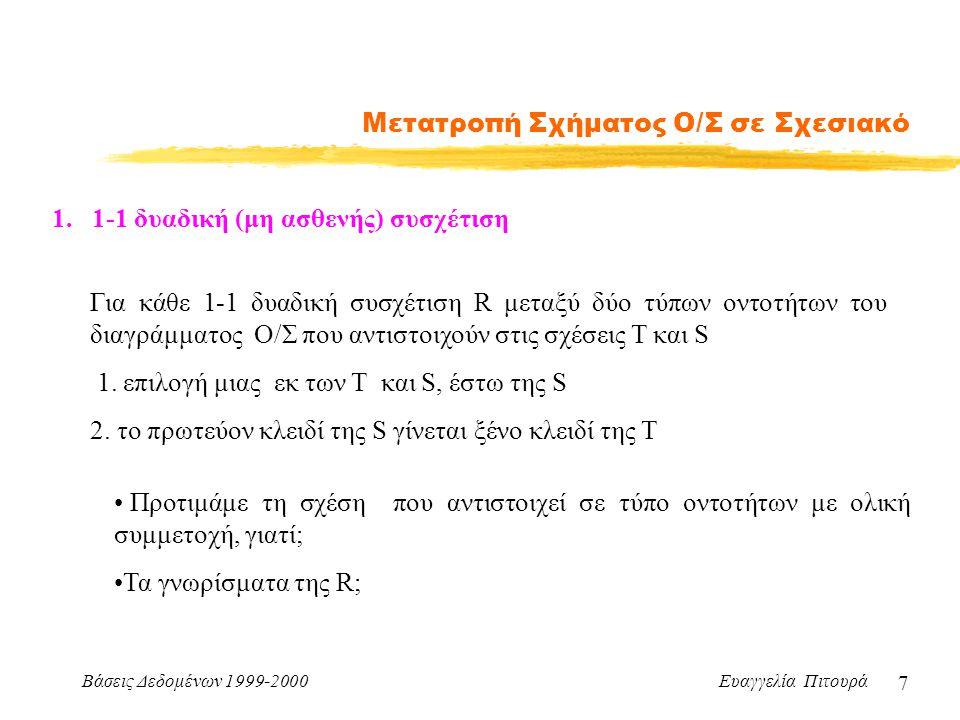 Βάσεις Δεδομένων 1999-2000 Ευαγγελία Πιτουρά 7 Μετατροπή Σχήματος Ο/Σ σε Σχεσιακό 1.