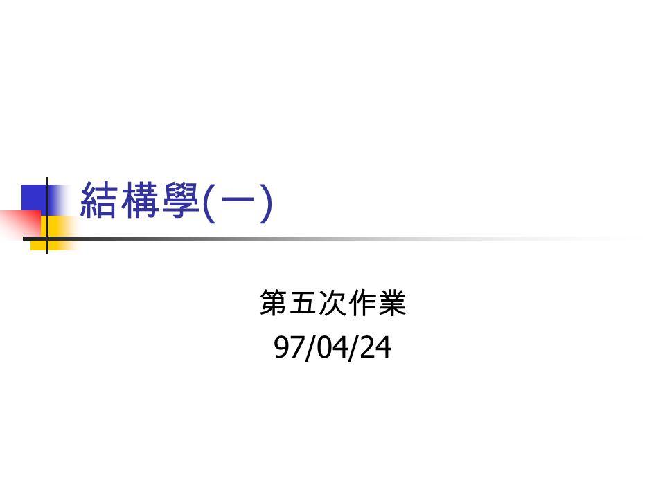 結構學 ( 一 ) 第五次作業 97/04/24