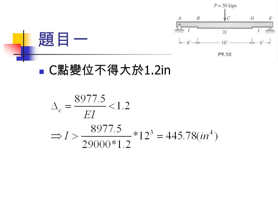 題目一 C 點變位不得大於 1.2in