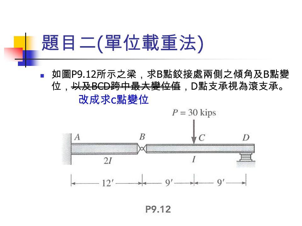 題目二 ( 單位載重法 ) 如圖 P9.12 所示之梁,求 B 點鉸接處兩側之傾角及 B 點變 位,以及 BCD 跨中最大變位值, D 點支承視為滾支承。 改成求 c 點變位