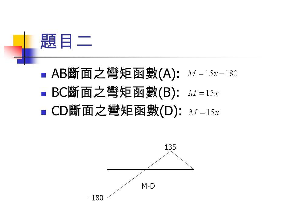 題目二 AB 斷面之彎矩函數 (A): BC 斷面之彎矩函數 (B): CD 斷面之彎矩函數 (D): -180 135 M-D