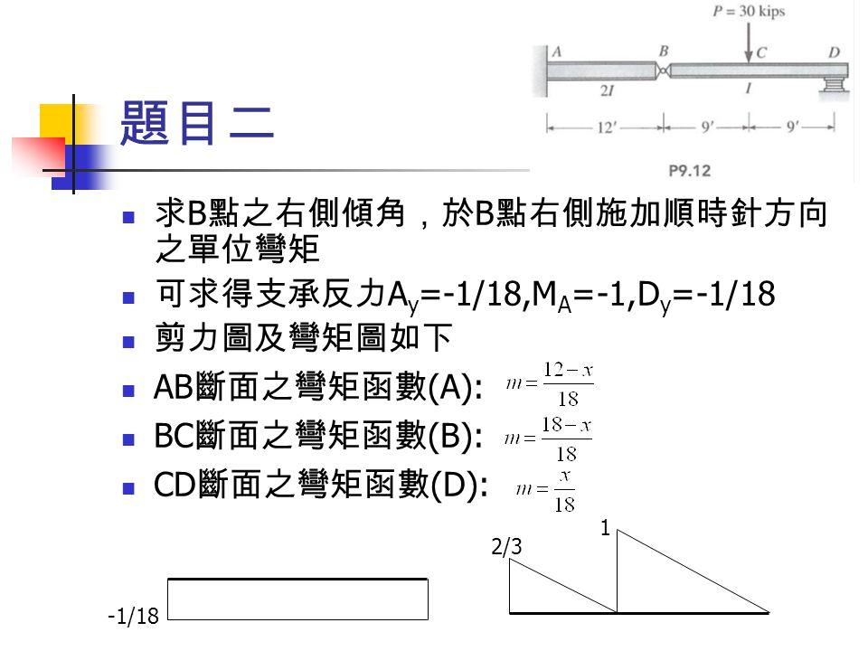 題目二 求 B 點之右側傾角,於 B 點右側施加順時針方向 之單位彎矩 可求得支承反力 A y =-1/18,M A =-1,D y =-1/18 剪力圖及彎矩圖如下 AB 斷面之彎矩函數 (A): BC 斷面之彎矩函數 (B): CD 斷面之彎矩函數 (D): 2/3 1 -1/18