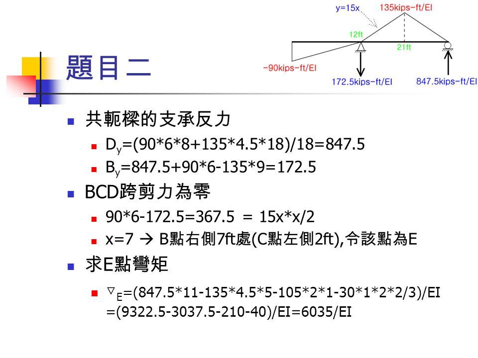 題目二 共軛樑的支承反力 D y =(90*6*8+135*4.5*18)/18=847.5 B y =847.5+90*6-135*9=172.5 BCD 跨剪力為零 90*6-172.5=367.5 = 15x*x/2 x=7  B 點右側 7ft 處 (C 點左側 2ft), 令該點為 E