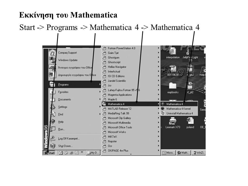 Start -> Programs -> Mathematica 4 -> Mathematica 4 Εκκίνηση του Mathematica
