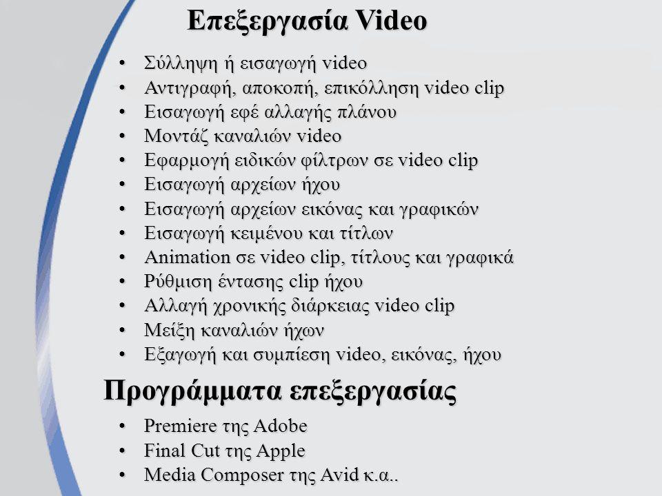 Συλλογή ψηφιακών Video clip Μέσω κάρτας σύλληψης από αναλογικό VideoΜέσω κάρτας σύλληψης από αναλογικό Video Μέσω κάρτας σύλληψης με τηλεοπτικό δέκτη, από τηλεοπτικό σήμαΜέσω κάρτας σύλληψης με τηλεοπτικό δέκτη, από τηλεοπτικό σήμα Αντιγραφή video clip από κάμερα DVΑντιγραφή video clip από κάμερα DV Αντιγραφή αρχείων video από διάφορα αποθηκευτικά μέσαΑντιγραφή αρχείων video από διάφορα αποθηκευτικά μέσα Κατέβασμα αρχείων video από το διαδίκτυοΚατέβασμα αρχείων video από το διαδίκτυο Απόσπαση video-clip (extraction) από DVD, SVCD, VCDΑπόσπαση video-clip (extraction) από DVD, SVCD, VCD Σύλληψη της απεικόνισης της οθόνης του υπολογιστήΣύλληψη της απεικόνισης της οθόνης του υπολογιστή
