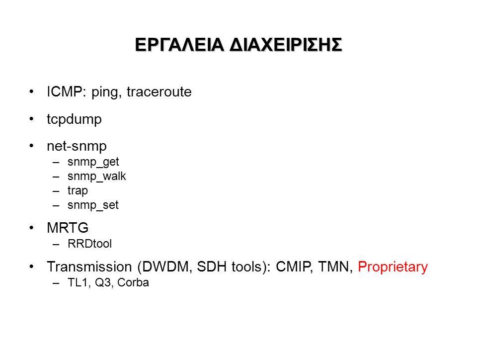 ΕΡΓΑΛΕΙΑ ΔΙΑΧΕΙΡΙΣΗΣ ICMP: ping, traceroute tcpdump net-snmp –snmp_get –snmp_walk –trap –snmp_set MRTG –RRDtool Transmission (DWDM, SDH tools): CMIP, TMN, Proprietary –TL1, Q3, Corba