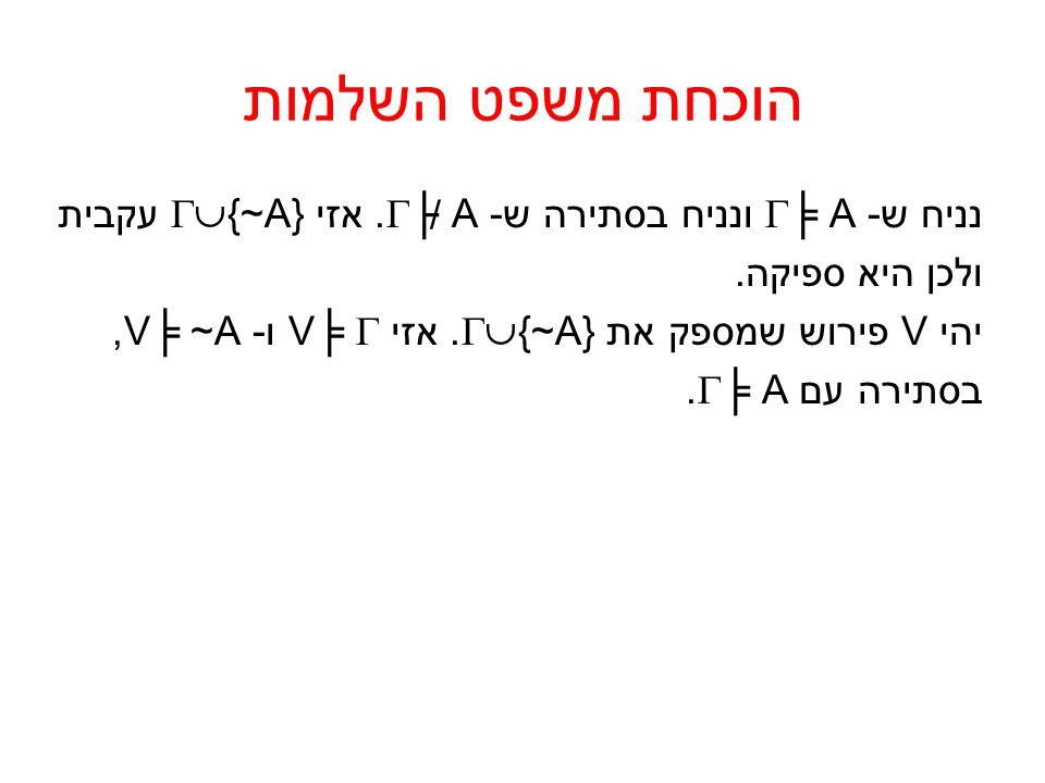 הוכחת משפט השלמות נניח ש -  ╞ A ונניח בסתירה ש -  ├ A. אזי  {~A} עקבית ולכן היא ספיקה. יהי V פירוש שמספק את  {~A}. אזי V╞  ו- V╞ ~A, בסתירה עם