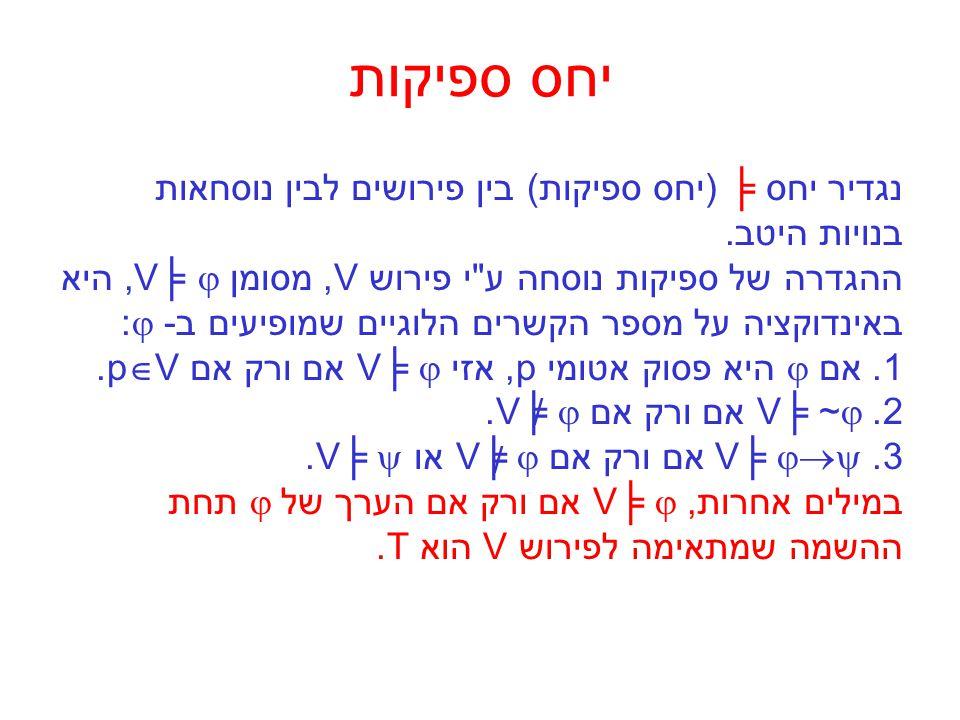 יחס ספיקות נוסחה  נקראת ספיקה אם קיים פירוש V כך ש - V╞  ונקראת תקפה אם עבור כל פירוש Vמתקיים V╞ .