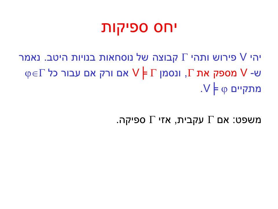יחס ספיקות יהי V פירוש ותהי  קבוצה של נוסחאות בנויות היטב. נאמר ש- V מספק את , ונסמן V╞  אם ורק אם עבור כל  מתקיים V╞ . משפט: אם  עקבית, אזי 