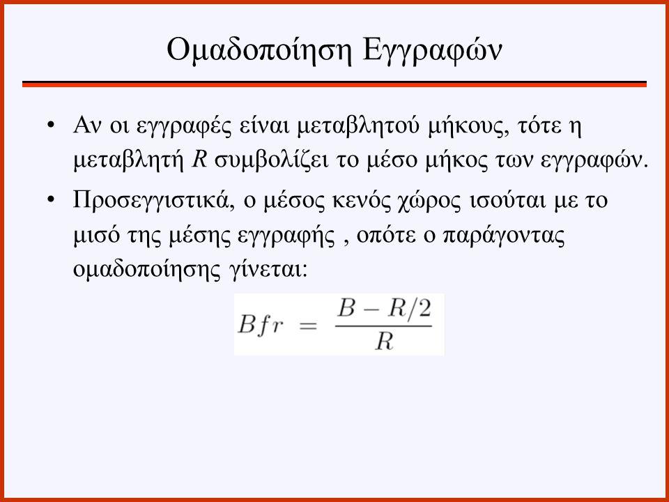 Αν οι εγγραφές είναι μεταβλητού μήκους, τότε η μεταβλητή R συμβολίζει το μέσο μήκος των εγγραφών. Προσεγγιστικά, ο μέσος κενός χώρος ισούται με το μισ