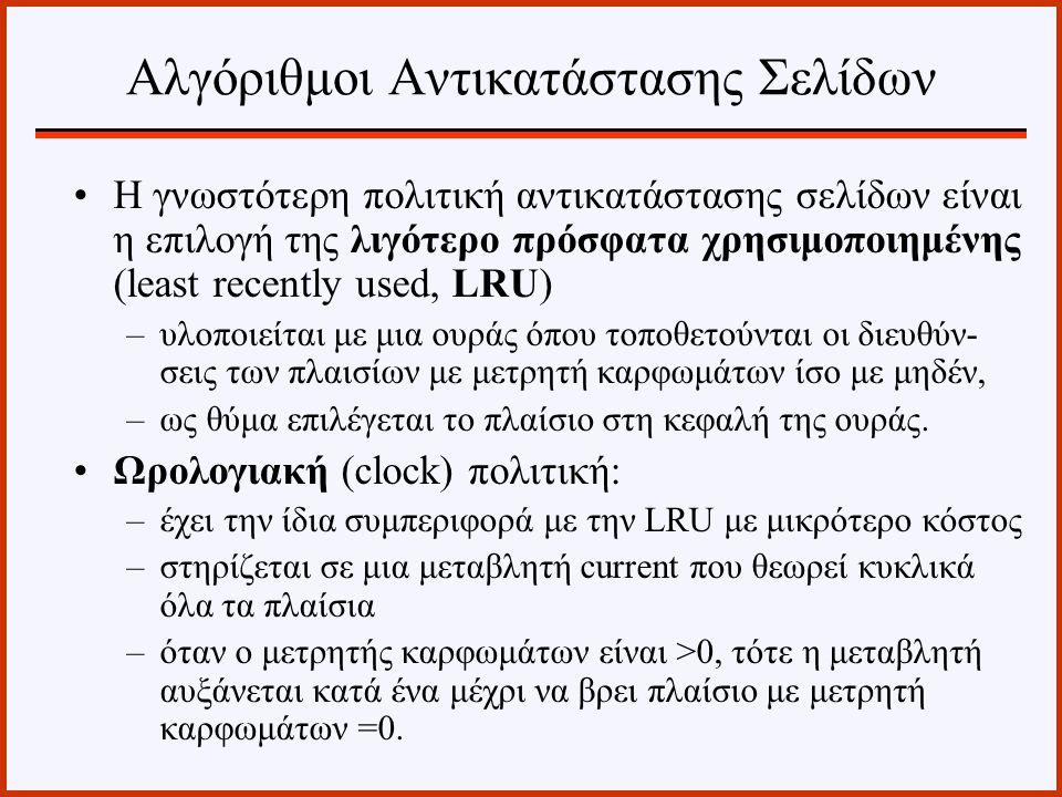 Η γνωστότερη πολιτική αντικατάστασης σελίδων είναι η επιλογή της λιγότερο πρόσφατα χρησιμοποιημένης (least recently used, LRU) –υλοποιείται με μια ουρ