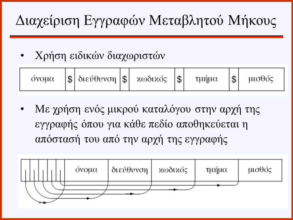 Χρήση ειδικών διαχωριστών Με χρήση ενός μικρού καταλόγου στην αρχή της εγγραφής όπου για κάθε πεδίο αποθηκεύεται η απόστασή του από την αρχή της εγγρα