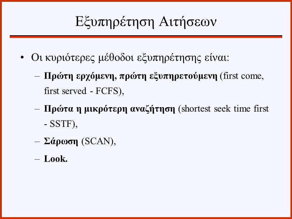 Οι κυριότερες μέθοδοι εξυπηρέτησης είναι: –Πρώτη ερχόμενη, πρώτη εξυπηρετούμενη (first come, first served - FCFS), –Πρώτα η μικρότερη αναζήτηση (short