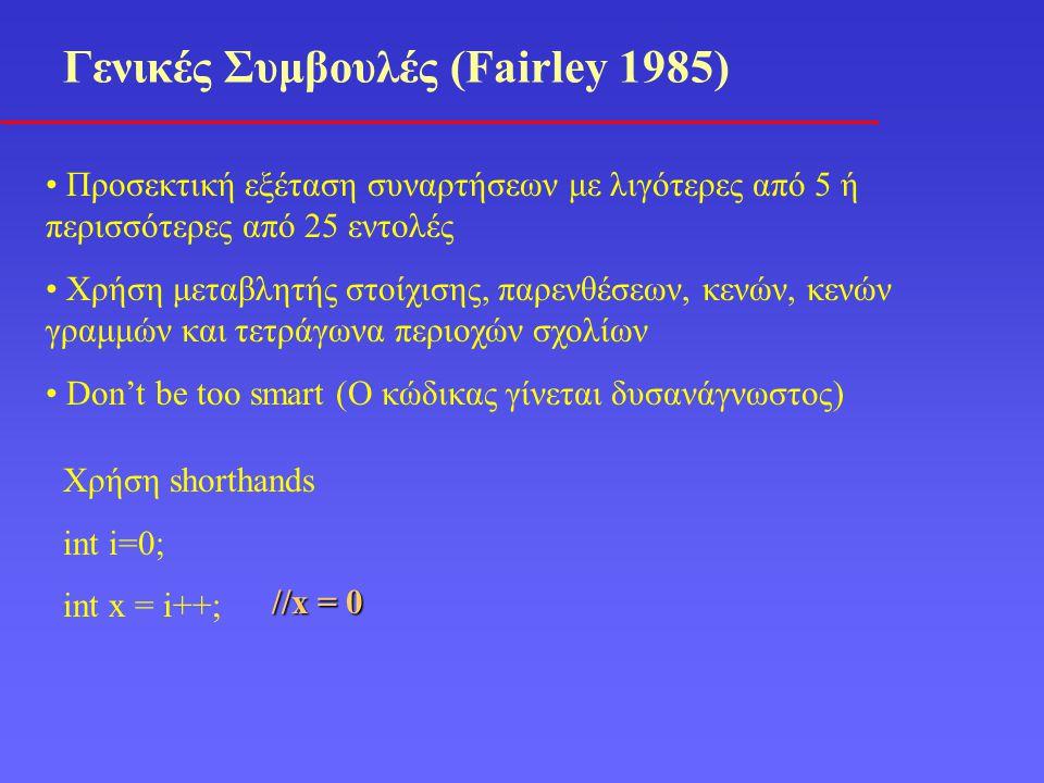 Γενικές Συμβουλές (Fairley 1985) Προσεκτική εξέταση συναρτήσεων με λιγότερες από 5 ή περισσότερες από 25 εντολές Χρήση μεταβλητής στοίχισης, παρενθέσεων, κενών, κενών γραμμών και τετράγωνα περιοχών σχολίων Don't be too smart (Ο κώδικας γίνεται δυσανάγνωστος) Χρήση shorthands int i=0; int x = i++; //x = 0