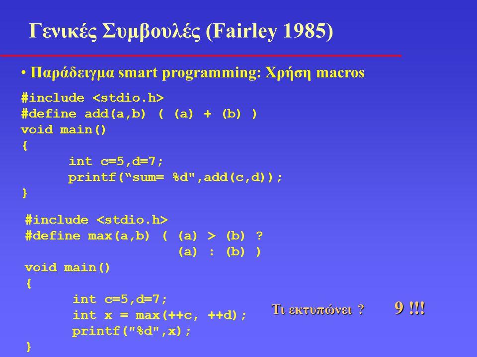Γενικές Συμβουλές (Fairley 1985) Παράδειγμα smart programming: Χρήση macros #include #define max(a,b) ( (a) > (b) .