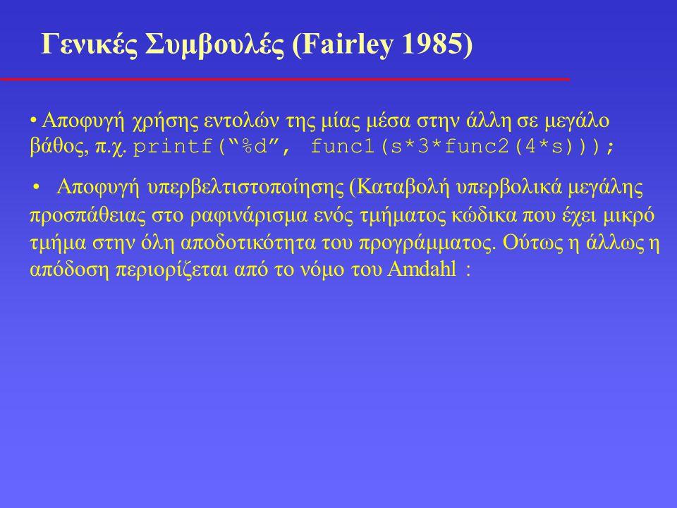 Γενικές Συμβουλές (Fairley 1985) Αποφυγή χρήσης εντολών της μίας μέσα στην άλλη σε μεγάλο βάθος, π.χ.