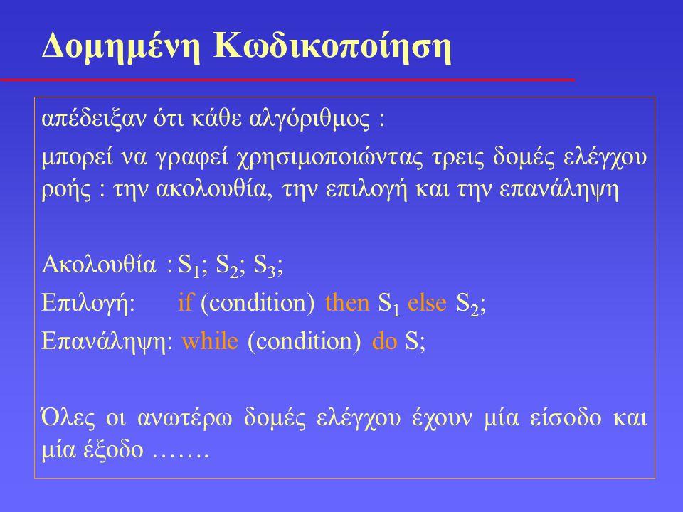 απέδειξαν ότι κάθε αλγόριθμος : μπορεί να γραφεί χρησιμοποιώντας τρεις δομές ελέγχου ροής : την ακολουθία, την επιλογή και την επανάληψη Ακολουθία :S 1 ; S 2 ; S 3 ; Επιλογή:if (condition) then S 1 else S 2 ; Επανάληψη: while (condition) do S; Όλες οι ανωτέρω δομές ελέγχου έχουν μία είσοδο και μία έξοδο …….
