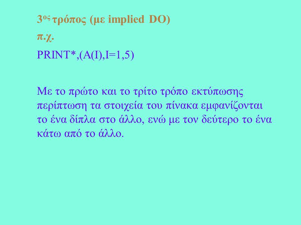 3 ος τρόπος (με implied DO) π.χ.