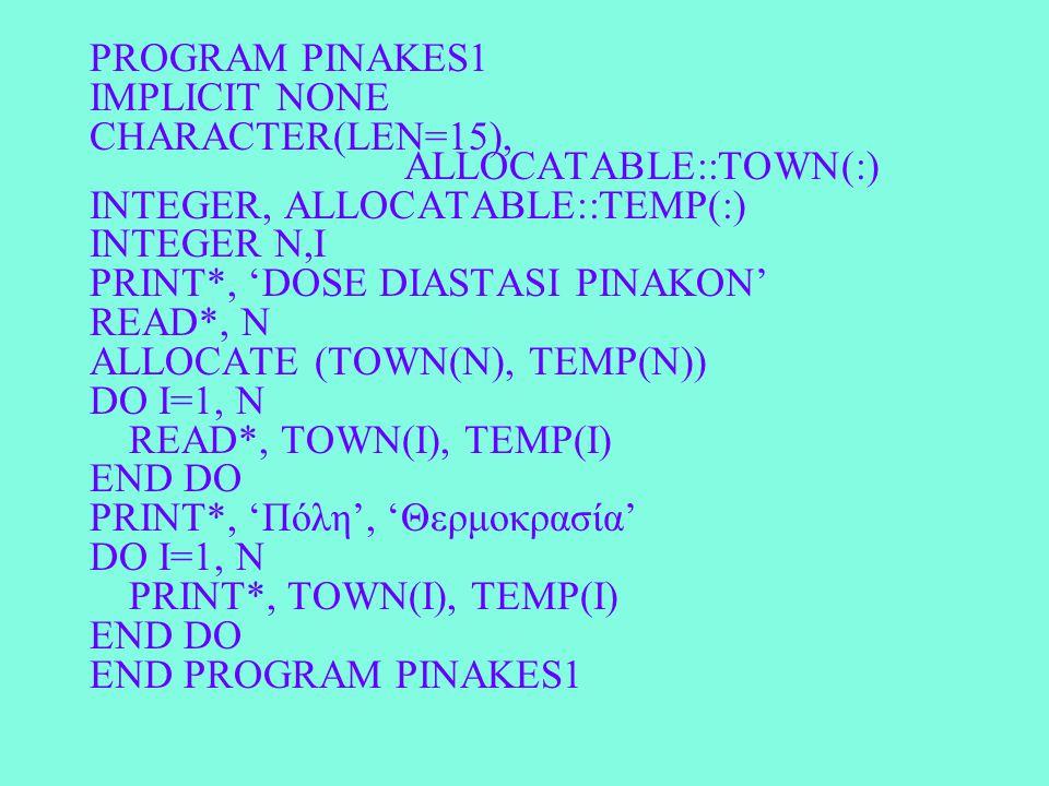 PROGRAM PINAKES1 IMPLICIT NONE CHARACTER(LEN=15), ALLOCATABLE::TOWN(:) INTEGER, ALLOCATABLE::TEMP(:) INTEGER N,I PRINT*, 'DOSE DIASTASI PINAKON' READ*
