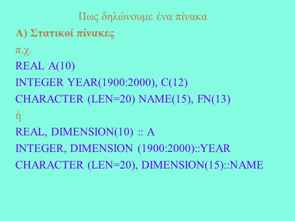 Πως δηλώνουμε ένα πίνακα Α) Στατικοί πίνακες π.χ.