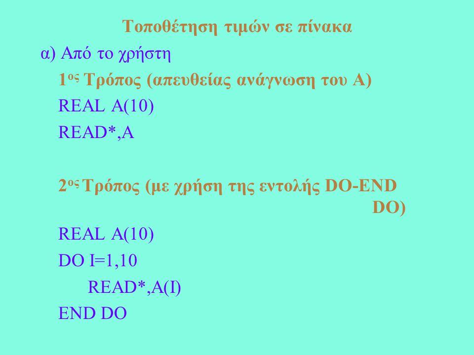 Τοποθέτηση τιμών σε πίνακα α) Από το χρήστη 1 ος Τρόπος (απευθείας ανάγνωση του Α) REAL A(10) READ*,A 2 ος Τρόπος (με χρήση της εντολής DO-END DO) REAL A(10) DO I=1,10 READ*,A(I) END DO
