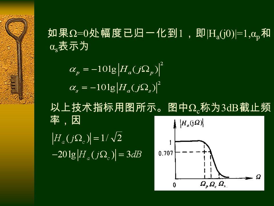 如果 Ω=0 处幅度已归一化到 1 ,即 |H a (j0)|=1,α p 和 α s 表示为 以上技术指标用图所示。图中 Ω c 称为 3dB 截止频 率,因