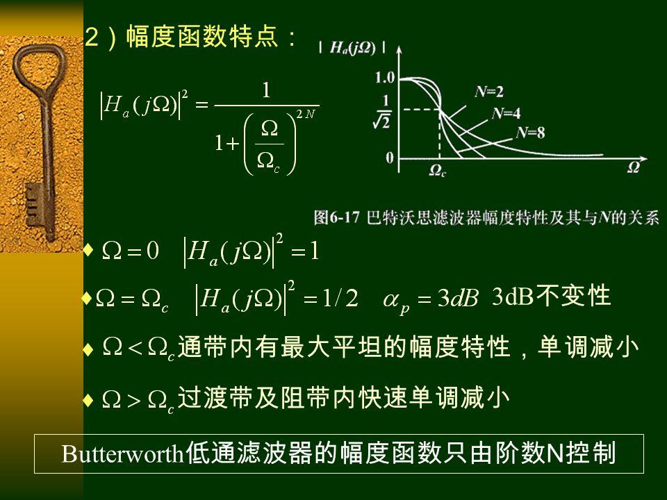 2 )幅度函数特点:   3dB 不变性  通带内有最大平坦的幅度特性,单调减小  过渡带及阻带内快速单调减小 Butterworth 低通滤波器的幅度函数只由阶数 N 控制