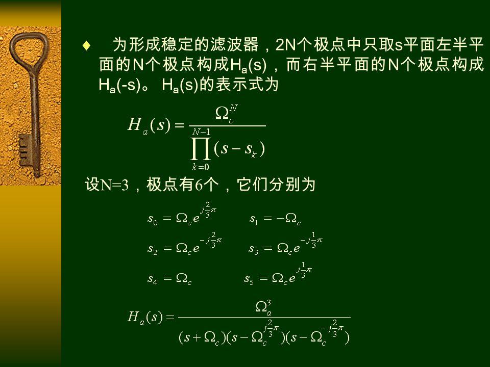  为形成稳定的滤波器, 2N 个极点中只取 s 平面左半平 面的 N 个极点构成 H a (s) ,而右半平面的 N 个极点构成 H a (-s) 。 H a (s) 的表示式为 设 N=3 ,极点有 6 个,它们分别为