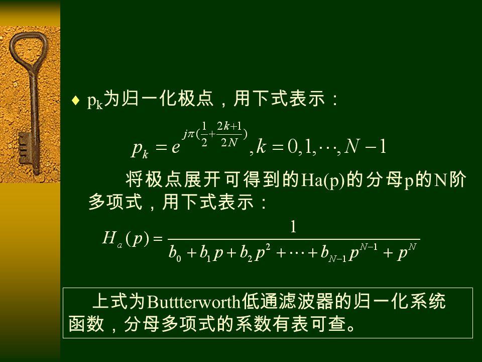  p k 为归一化极点,用下式表示: 将极点展开可得到的 Ha(p) 的分母 p 的 N 阶 多项式,用下式表示: 上式为 Buttterworth 低通滤波器的归一化系统 函数,分母多项式的系数有表可查。