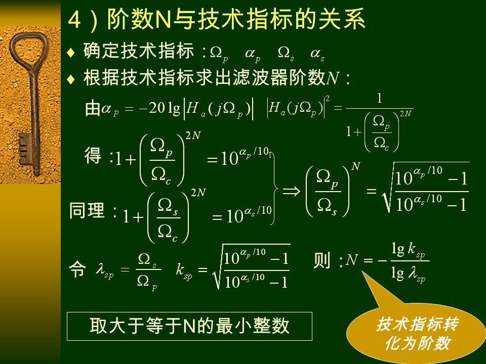 4 )阶数 N 与技术指标的关系  根据技术指标求出滤波器阶数 N :  确定技术指标: 由 得: 同理: 令 则: 技术指标转 化为阶数 取大于等于 N 的最小整数