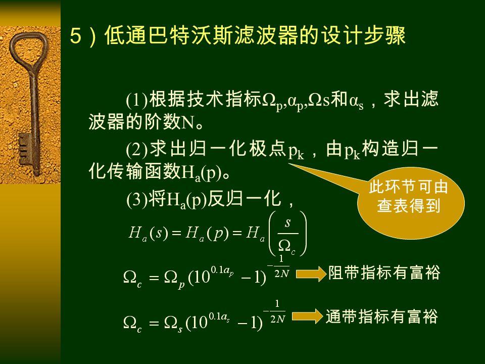 5 )低通巴特沃斯滤波器的设计步骤 (1) 根据技术指标 Ω p,α p,Ωs 和 α s ,求出滤 波器的阶数 N 。 (2) 求出归一化极点 p k ,由 p k 构造归一 化传输函数 H a (p) 。 (3) 将 H a (p) 反归一化, 阻带指标有富裕 通带指标有富裕 此环节可由 查表得到