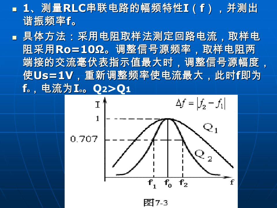 1 、测量 RLC 串联电路的幅频特性 I ( f ),并测出 谐振频率 f 。 1 、测量 RLC 串联电路的幅频特性 I ( f ),并测出 谐振频率 f 。 具体方法:采用电阻取样法测定回路电流,取样电 阻采用 Ro=10Ω 。调整信号源频率,取样电阻两 端接的交流毫伏表指示值最大时,调整信号源幅度, 使 Us=1V ,重新调整频率使电流最大,此时 f 即为 f 0 ,电流为 I 0 。 具体方法:采用电阻取样法测定回路电流,取样电 阻采用 Ro=10Ω 。调整信号源频率,取样电阻两 端接的交流毫伏表指示值最大时,调整信号源幅度, 使 Us=1V ,重新调整频率使电流最大,此时 f 即为 f 0 ,电流为 I 0 。 Q 2 >Q 1