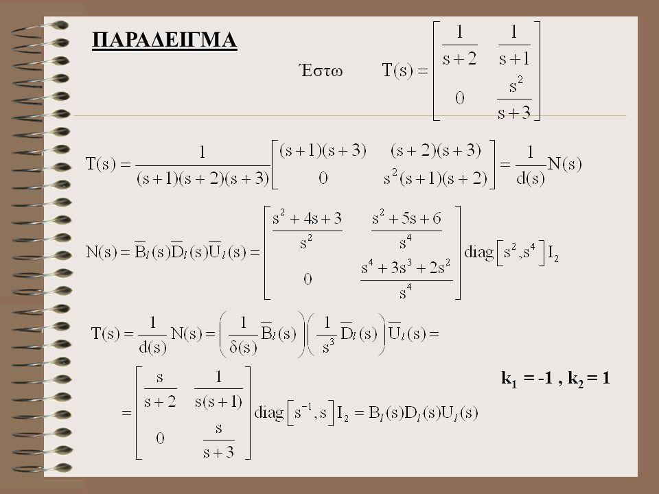 ΠΑΡΑΔΕΙΓΜΑ Έστω k 1 = -1, k 2 = 1 k 1 = -1, k 2 = 1