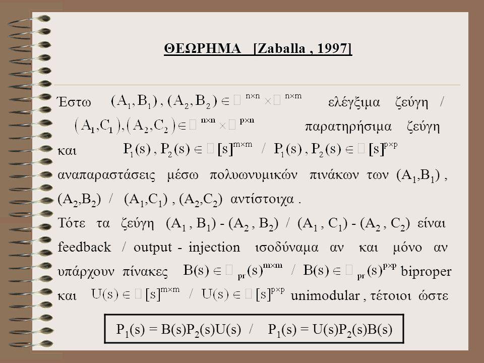 ΘΕΩΡΗΜΑ [Zaballa, 1997] Έστω ελέγξιμα ζεύγη / παρατηρήσιμα ζεύγη και αναπαραστάσεις μέσω πολυωνυμικών πινάκων των (Α 1,Β 1 ), (Α 2,Β 2 ) / (Α 1,C 1 ), (Α 2,C 2 ) αντίστοιχα.