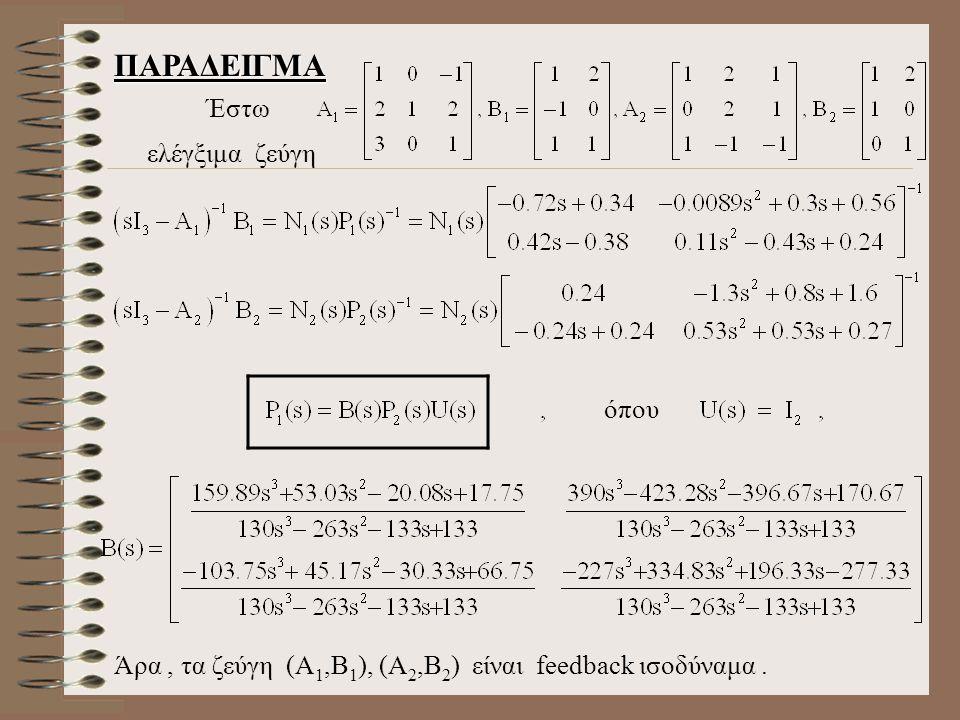 ΠΑΡΑΔΕΙΓΜΑ Έστω ελέγξιμα ζεύγη όπου Άρα, τα ζεύγη (Α 1,Β 1 ), (Α 2,Β 2 ) είναι feedback ισοδύναμα.