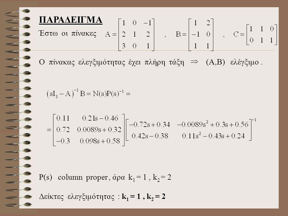 ΠΑΡΑΔΕΙΓΜΑ Έστω οι πίνακες O πίνακας ελεγξιμότητας έχει πλήρη τάξη (Α,Β) ελέγξιμο.
