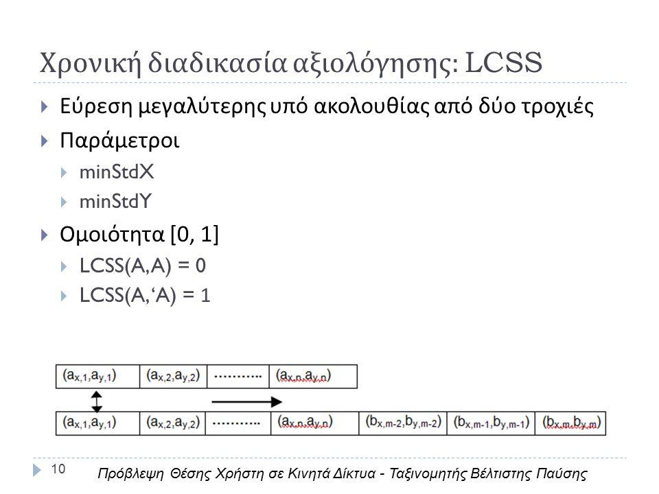 Χρονική διαδικασία αξιολόγησης : LCSS 10  Εύρεση μεγαλύτερης υπό ακολουθίας από δύο τροχιές  Παράμετροι  minStdX  minStdY  Ομοιότητα [0, 1]  LCSS(A, A) = 0  LCSS(A, 'A) = 1 Πρόβλεψη Θέσης Χρήστη σε Κινητά Δίκτυα - Ταξινομητής Βέλτιστης Παύσης