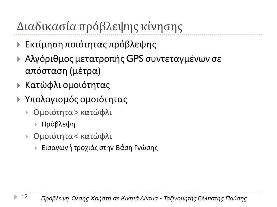 Διαδικασία πρόβλεψης κίνησης 12  Εκτίμηση ποιότητας πρόβλεψης  Αλγόριθμος μετατροπής GPS συντεταγμένων σε απόσταση ( μέτρα )  Κατώφλι ομοιότητας  Υπολογισμός ομοιότητας  Ομοιότητα > κατώφλι  Πρόβλεψη  Ομοιότητα < κατώφλι  Εισαγωγή τροχιάς στην Βάση Γνώσης Πρόβλεψη Θέσης Χρήστη σε Κινητά Δίκτυα - Ταξινομητής Βέλτιστης Παύσης