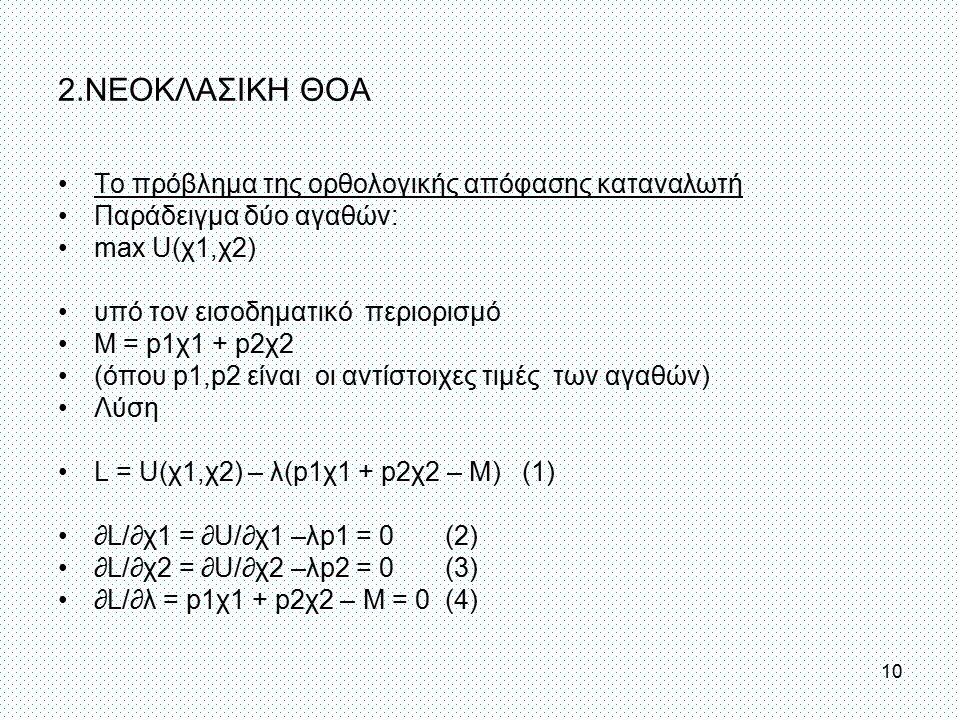 Το πρόβλημα της ορθολογικής απόφασης καταναλωτή Παράδειγμα δύο αγαθών: max U(χ1,χ2) υπό τον εισοδηματικό περιορισμό Μ = p1χ1 + p2χ2 (όπου p1,p2 είναι