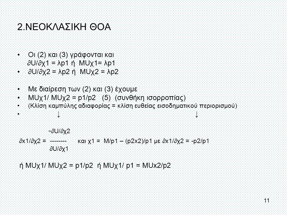 2.ΝΕΟΚΛΑΣΙΚΗ ΘΟΑ Οι (2) και (3) γράφονται και ∂U/∂χ1 = λp1 ή MUχ1= λp1 ∂U/∂χ2 = λp2 ή MUχ2 = λp2 Με διαίρεση των (2) και (3) έχουμε MUχ1/ MUχ2 = p1/p2