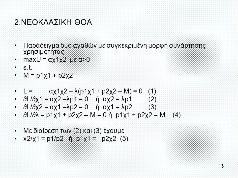 2.ΝΕΟΚΛΑΣΙΚΗ ΘΟΑ Παράδειγμα δύο αγαθών με συγκεκριμένη μορφή συνάρτησης χρησιμότητας maxU = αχ1χ2 με α>0 s.t. Μ = p1χ1 + p2χ2 L = αχ1χ2 – λ(p1χ1 + p2χ