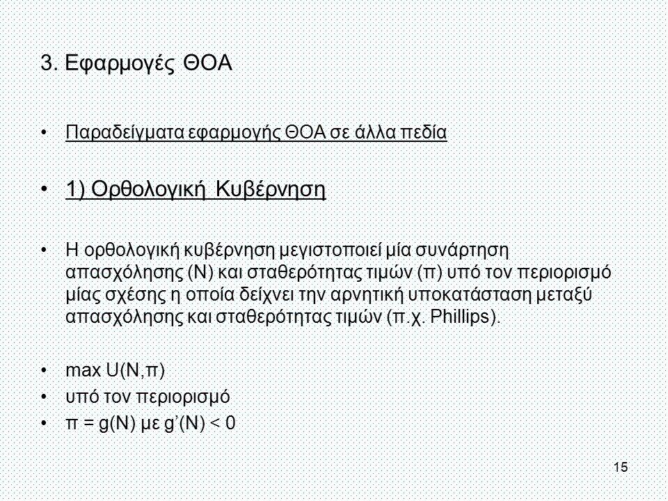 3. Εφαρμογές ΘΟΑ Παραδείγματα εφαρμογής ΘΟΑ σε άλλα πεδία 1) Ορθολογική Κυβέρνηση Η ορθολογική κυβέρνηση μεγιστοποιεί μία συνάρτηση απασχόλησης (N) κα