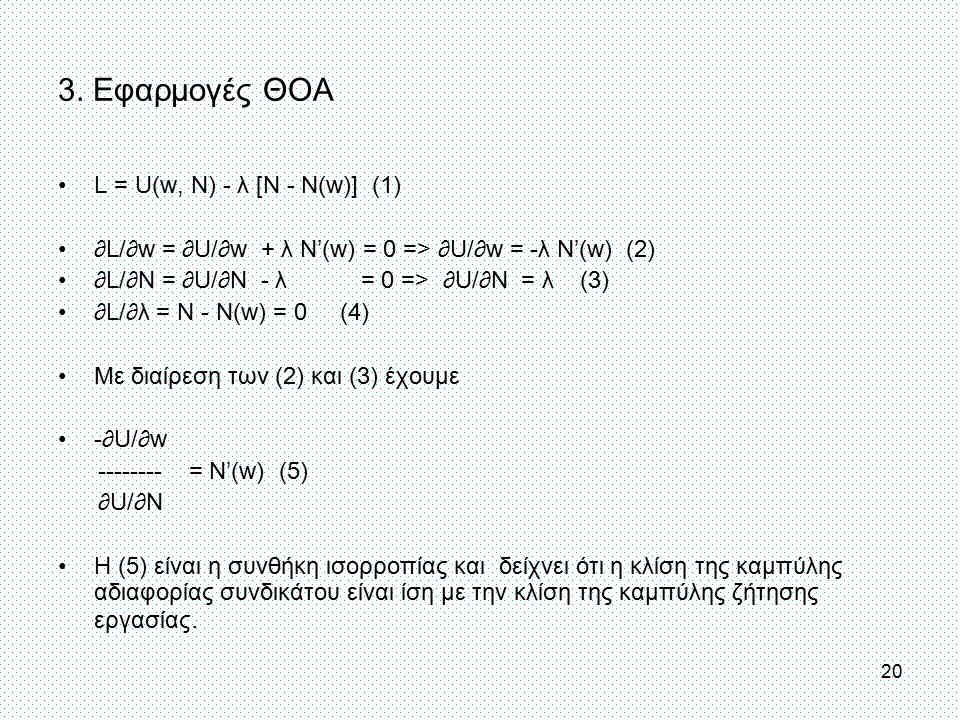 3. Εφαρμογές ΘΟΑ L = U(w, N) - λ [N - N(w)] (1) ∂L/∂w = ∂U/∂w + λ N'(w) = 0 => ∂U/∂w = -λ N'(w) (2) ∂L/∂N = ∂U/∂N - λ = 0 => ∂U/∂N = λ (3) ∂L/∂λ = Ν -