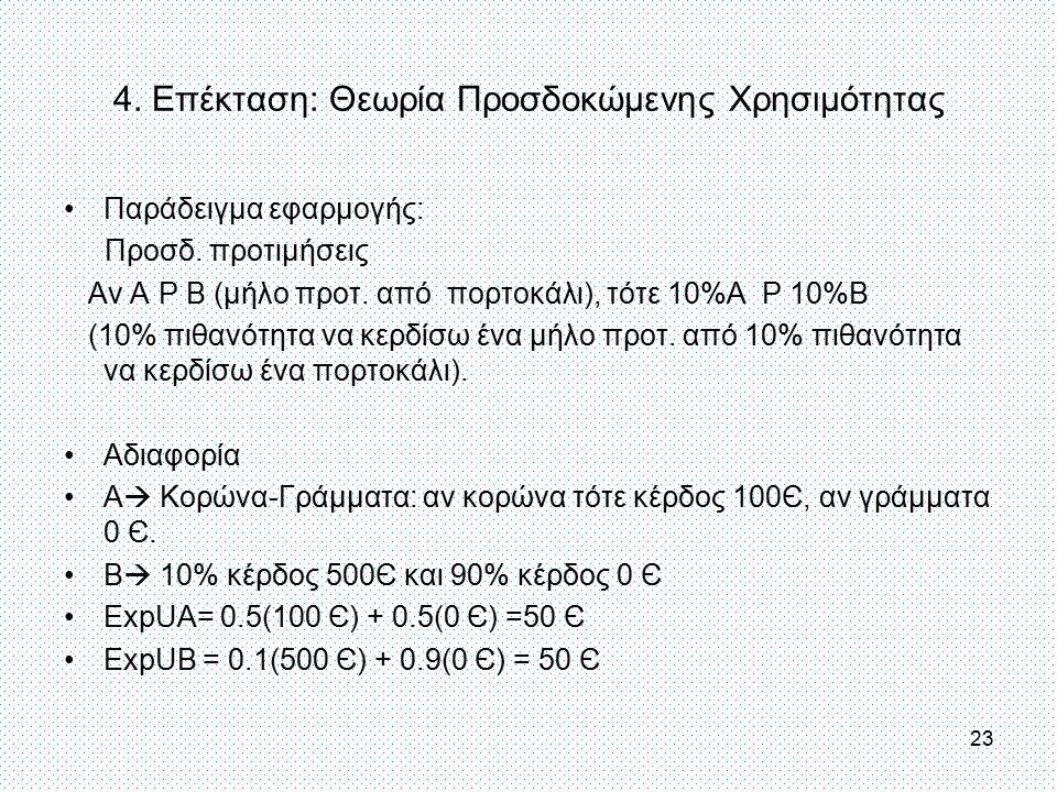 4. Επέκταση: Θεωρία Προσδοκώμενης Χρησιμότητας Παράδειγμα εφαρμογής: Προσδ. προτιμήσεις Αν Α Ρ Β (μήλο προτ. από πορτοκάλι), τότε 10%Α Ρ 10%Β (10% πιθ