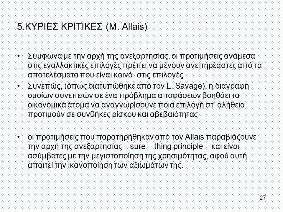 5.ΚΥΡΙΕΣ ΚΡΙΤΙΚΕΣ (Μ. Allais) Σύμφωνα με την αρχή της ανεξαρτησίας, οι προτιμήσεις ανάμεσα στις εναλλακτικές επιλογές πρέπει να μένουν ανεπηρέαστες απ